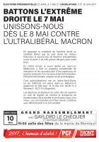 Battons l'extrême droite le 7 mai et unissons-nous dès le 8 contre l'ultralibéral Macron
