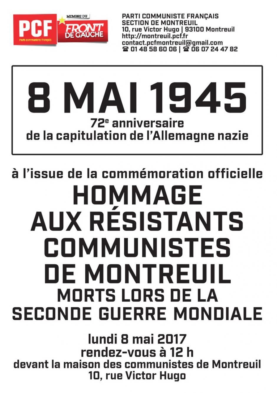 Hommage aux résistants communistes de Montreuil morts lors de la Seconde Guerre mondiale